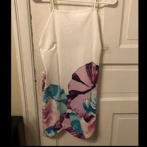 Spaghetti strap white dress with flower print